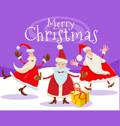christmas card design with cartoon santa claus vector image