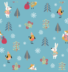 christmas seamless patern with cute animals vector image