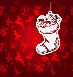 christmas sock santa claus decorative christmas vector image