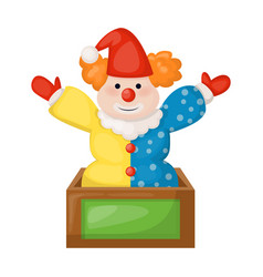 clown sitting on birthday present box fun vector image