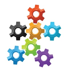 Colorful gear icons vector