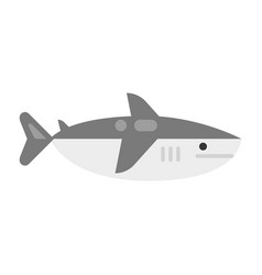 Colorful shark simple icon flat vector