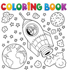 Coloring book space theme 1 vector