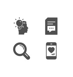 comments idea and research icons love chat sign vector image