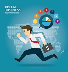 Concept of successful Timeline businessman cartoon vector image