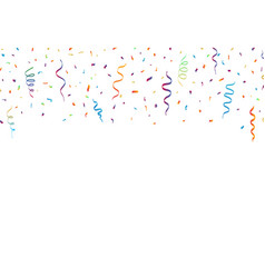 confetti and ribbons on white background vector image vector image