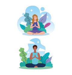 Couple meditating in nature and leaves concept vector