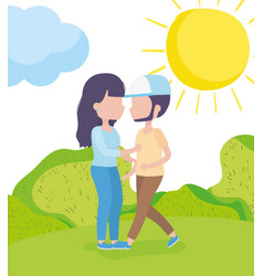 Couple together grass nature landscape healthy vector