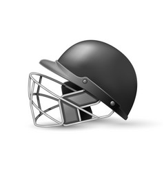 cricket helmet with protective grill on white vector image