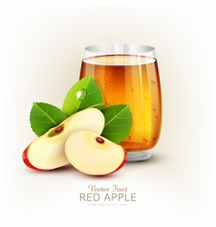 Cup glass of apple juice with slices of apple vector