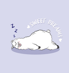 cute cartoon lama doodle character vector image