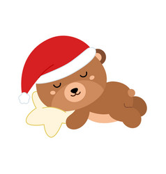cute flat bear in christmas hat sleeping on star vector image