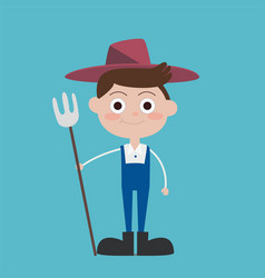 cute flat farmer cartoon characters wear blue vector image
