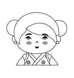 cute japanese girl icon vector image