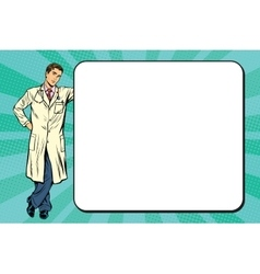 Doctor of medicine next to a poster vector
