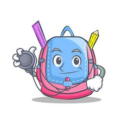 Doctor school bag character cartoon vector