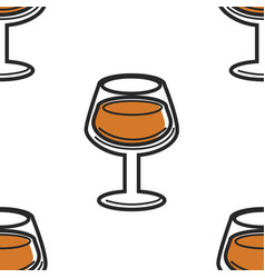 Drink in glass cognac seamless pattern alcohol vector