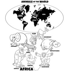 educational african animals coloring book page vector image