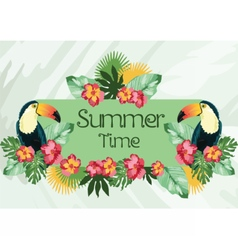Exotic tropical Summer card with flowers vector image
