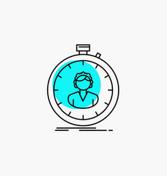 Fast speed stopwatch timer girl line icon vector