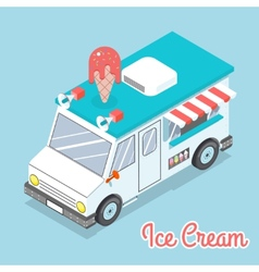 Flat 3d isometric ice cream truck with text vector