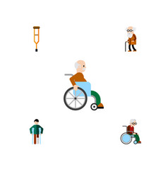 flat icon disabled set of stand injured vector image