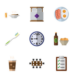 Flat icon life set of cappuccino lunch watch and vector