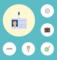 Flat icons portfolio goal employee and other vector