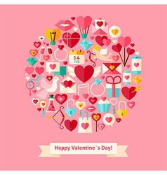 Flat Style Valentines Day Objects Concept vector