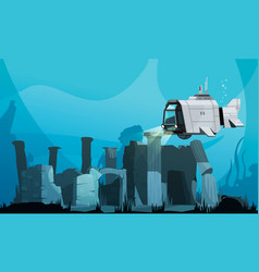 Flooded atlantis cartoon background vector