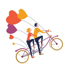 Flying tandem bike vector image