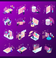 freelance coding icon set vector image