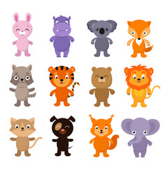 funny cartoon young animals characters vector image