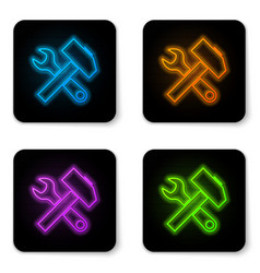glowing neon crossed hammer and wrench icon vector image