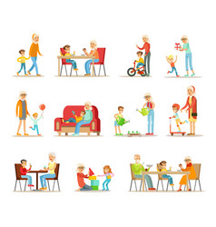 Grandparent spending time with grandchildren set vector