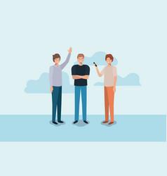 group of men using smartphone vector image