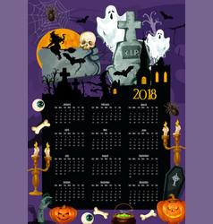halloween holiday year calendar template design vector image