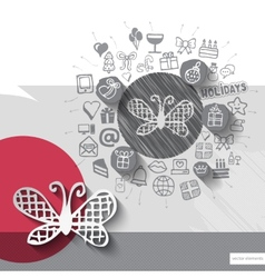 Hand drawn butterfly icons with icons background vector image