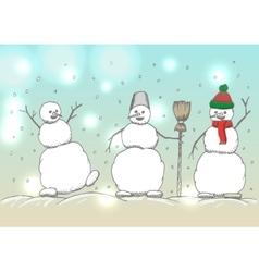 Hand drawn happy snowmans cartoon vector