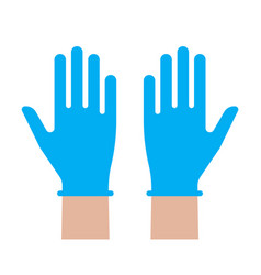 hands putting on medical latex gloves icon symbol vector image