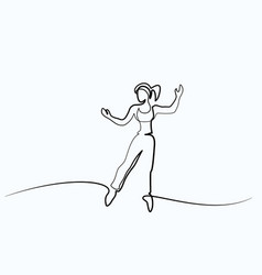 happy jumping woman on white background vector image