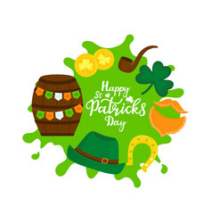 happy st patricks day banner a a barrel of beer vector image