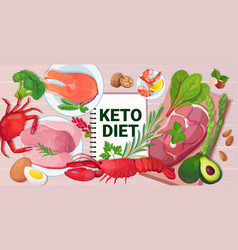 healthy food keto diet concept selection good vector image