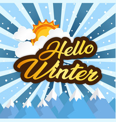 Hello winter sun golden-brown image vector