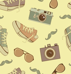 Hipster seamless background vector image