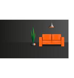 Interior design a dark lounge with furniture vector