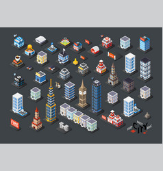 Isometric projection of 3d buildings vector