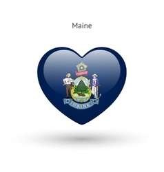 Love Maine state symbol Heart flag icon vector