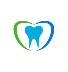 love shape dental care blue green symbol design vector image