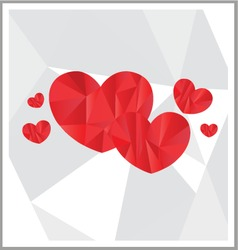Low Poly art hearts design vector